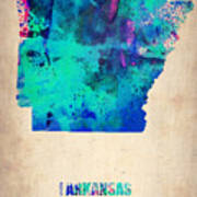 Arkansas Watercolor Map Art Print by Naxart Studio