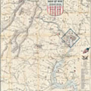 Army Map Of Seat Of War In Virginia 1862 Art Print