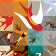 Arraygraphy - Birdies Triptych Part2 Art Print