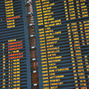 Arrival Board At Paris Charles De Gaulle International Airport Art Print by Sami Sarkis