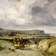 Arrival Of A Stagecoach At Treport Art Print
