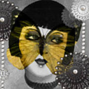 Art Deco Butterfly Woman Art Print