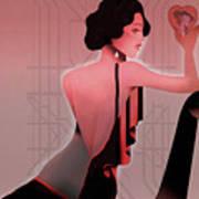 Art Deco Valentine Greeting Art Print by Jeff Burgess