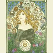 Art Nouveau Goddess Of Astrology Art Print