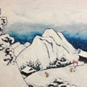 Art Of Japan And The Two Paths Of Shintoism And Buddhism - Holy Men In The Snow Without Abraham Art Print