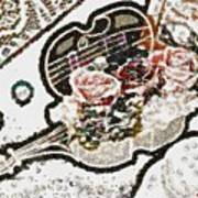 Art Violin And Roses Pearlesqued In Fragments  Art Print