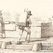 Artist Carrying Easel With A Lithographic Stone Art Print