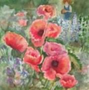 Artist In The Garden Art Print by B Rossitto