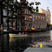 Artist On Amsterdam Canal Art Print