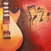 Artistic Guitar With Musical Notes Art Print