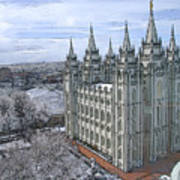 Artistic Rendering Of The Salt Lake City Lds Temple Art Print