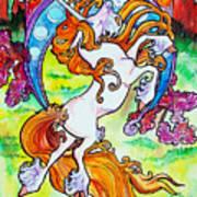 Artsy Nouveau Unicorn Art Print by Jenn Cunningham
