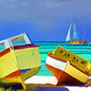 Aruba Boats Art Print