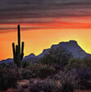 As The Sun Sets On Red Mountain  Art Print