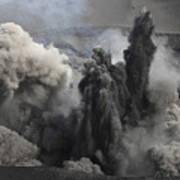 Ash Cloud Eruption On Yasur Volcano Art Print