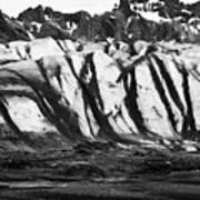 ash covered Skaftafell glacier and end moraine Vatnajokull national park in Iceland Art Print