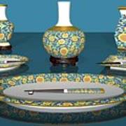 Asian Dining And Vases Art Print