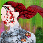 Asian Flower Woman Red Art Print