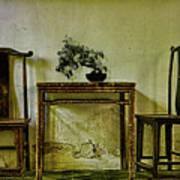 Asian Furniture And Bonsai Art Print