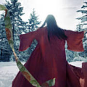 Asian Woman In Red Kimono Dancing In The Snow Spinning Around To Art Print