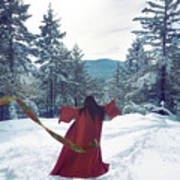 Asian Woman In Red Kimono Dancing On The Snow In The Forest Art Print
