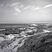 Asilomar Beach Stairway In Black And White Art Print