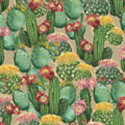 Assorted Blooming Cactus Plants Art Print