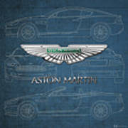 Aston Martin 3 D Badge Over Aston Martin D B 9 Blueprint Art Print