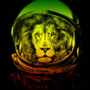 Astronaut Lion Colorful Ready For Space Art Print
