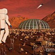 Astronaut Walking Across The Surface Art Print