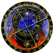 Astronomical Clock In Grunge Style Art Print