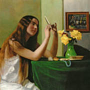 At The Dressing Table Art Print by Felix Edouard Vallotton