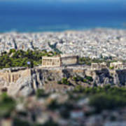 Athens, Greece. Athens Acropolis And City Aerial View From Lycavittos Hill Art Print