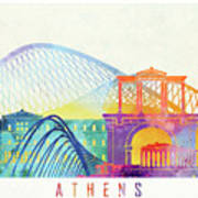 Athens Landmarks Watercolor Poster Art Print