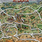 Atlanta Cartoon Map Art Print
