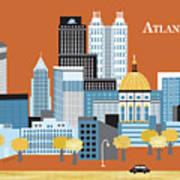 Atlanta Georgia Horizontal Skyline Art Print