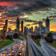Atlanta Nite Lights Atlanta Downtown Cityscape Art Art Print