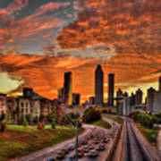 Atlanta Orange Clouds Sunset Capital Of The South Art Print