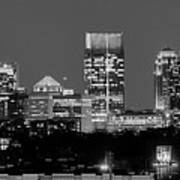 Atlanta Skyline At Night Downtown Midtown Black And White Bw Panorama Art Print