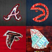 Atlanta Sports Fan Recycled Vintage Georgia License Plate Art Braves Hawks Falcons Plus State Map Art Print