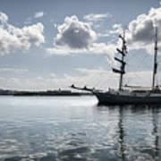 Atlantis - A Three Masts Vessel In Port Mahon Crystaline Water Art Print
