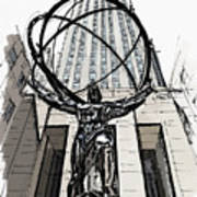 Atlas Sculpture Sketch In New York City Art Print