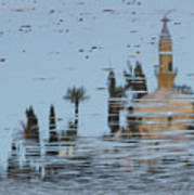 Atmospheric Hala Sultan Tekke Reflection At Larnaca Salt Lake Art Print
