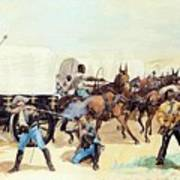 Attack On The Supply Train 1885 Art Print