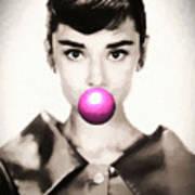 Audrey Hepburn Bubblegum Art Print
