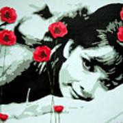 Audrey In Poppies Art Print