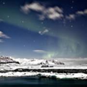 Aurora At Glacier Lagoon Art Print
