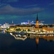Aurora Over Stockholm In The Fall 2018 Art Print