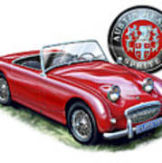 Austin Healey Bugeye Sprite Red Art Print by David Kyte