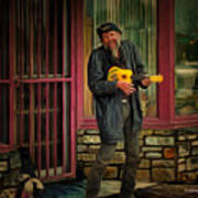 Austin Musician Plays The Blues Art Print